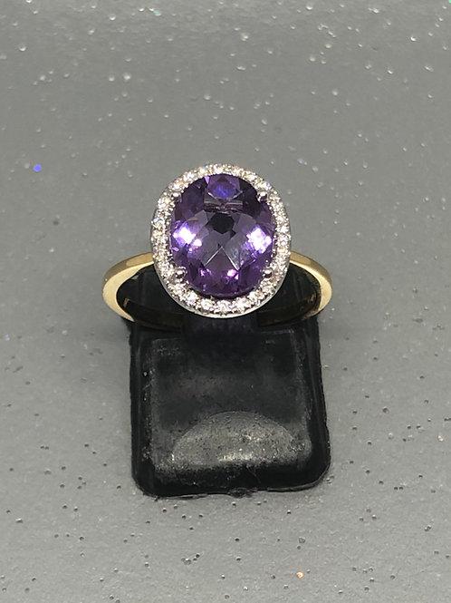 New 18ctAmethyst &Diamond Ring