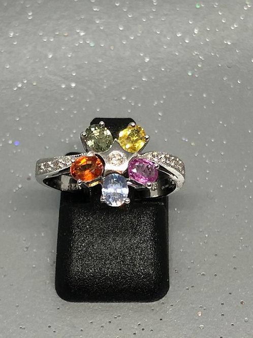 New 18ctDiamond & Multi Coloured Sapphire Flower Ring