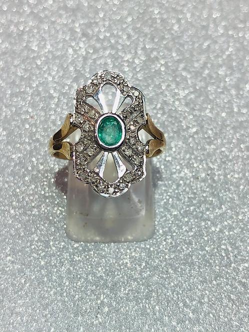 New 9ct Gold Art Deco Emerald & Diamond Ring