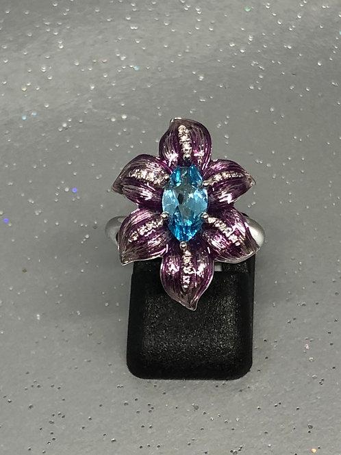 New 18ctTopaz &Diamond Flower Ring