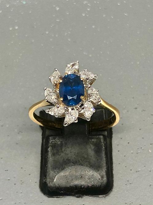 New 18ct Marquise Diamond &Sapphire Ring