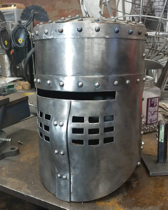 Black knight helmet in production