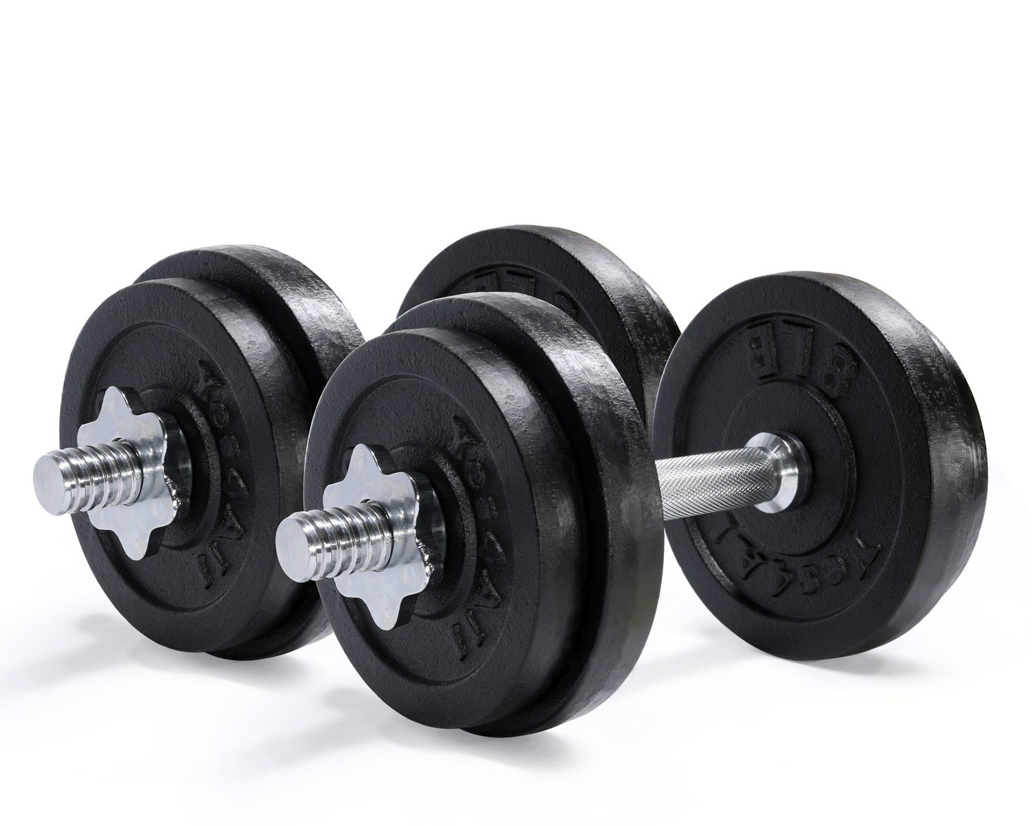 Adjustable Cast Iron Dumbbells with Solid Dumbbell Handles -