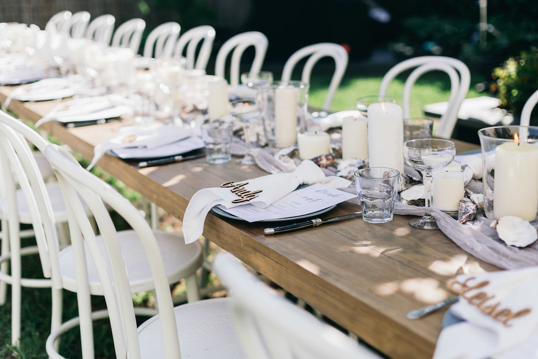 Leche Cafe Yamba wedding reception. Furniture from Hampton Event Hire and styled by Ivy Lane and Co.