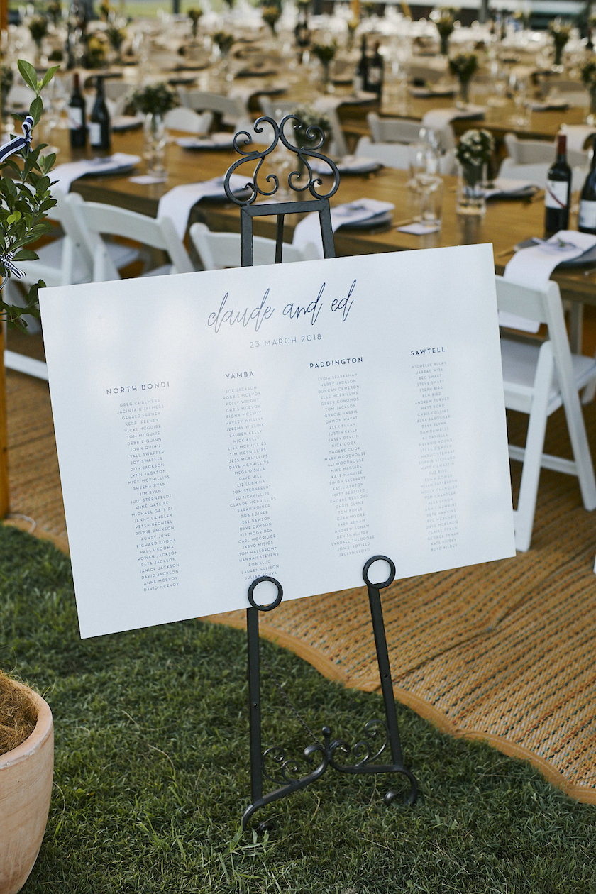 The very stylish seating chart for the seated reception