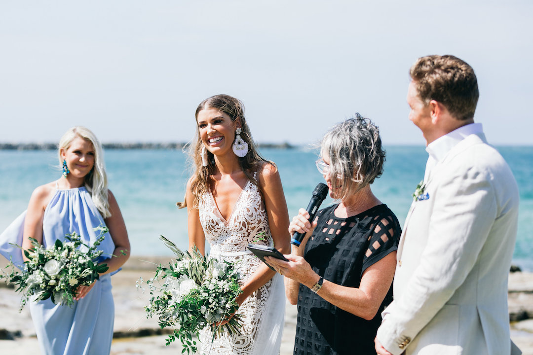 Celebrant Marg Walgers officiated the wedding ceremony