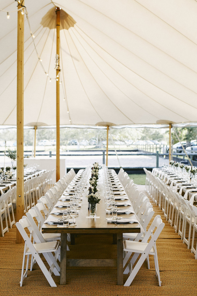 Timber feasting tables supplied by Hampton Event Hire and Americana  folding chairs supplied by Yamba Weddings and Events