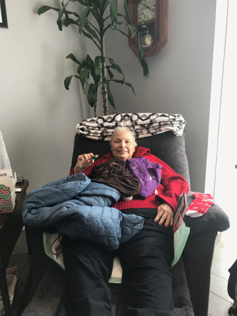 Margaret loved the jacket, her new socks and the sugar free candy!!