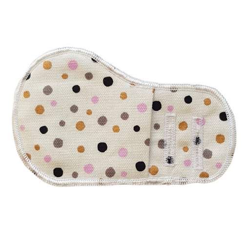 White Golden Polka Dots Cloth Patch