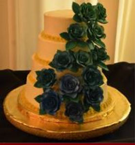 Tiered Wedding Cake w/Handmade Roses