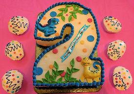 Turning 2 Carved Dino Cake