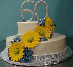 Tiered Anniversary Daisy Cake