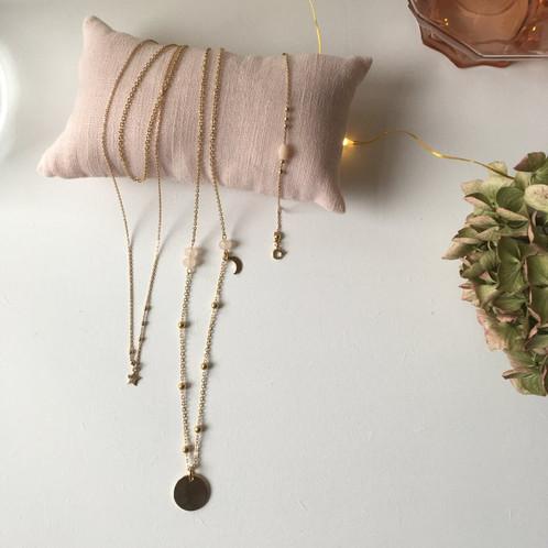 Sautoir, ras de cou et bracelet plaque or perles fines rose ou quartz