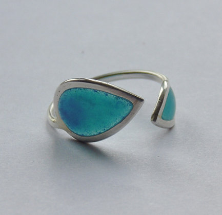 Blue turquoise wrap around ring
