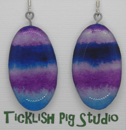 Watercolour collection, Purple waves earrings
