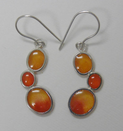 Pebble earrings, Deep oranges