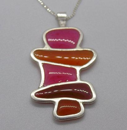 Shard pendant in striking orange & pink