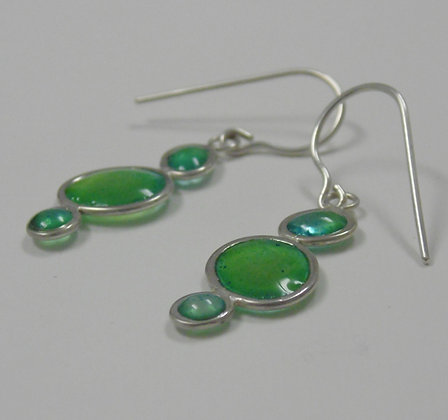Pebble earrings in Sea greens