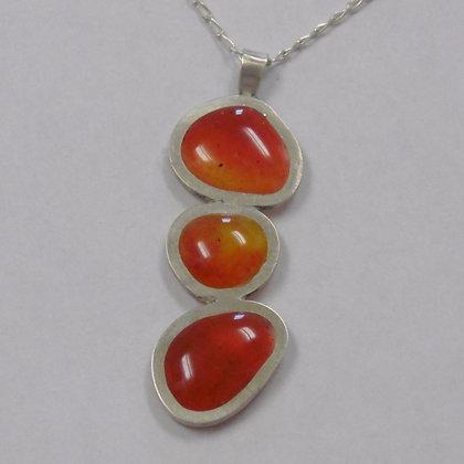 Hot Orange Pebble Pendant