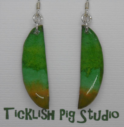 Watercolour collection drop sliced oval earrings in green