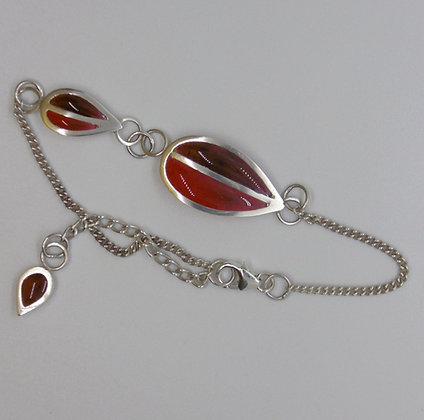 Crimson Twin Leaf Bracelet