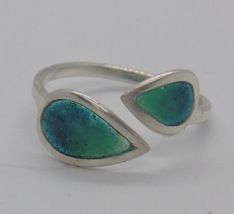 Twin Leaf Ring teal/deep blue