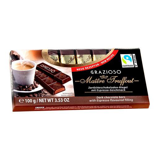 BARRAS DE CHOCOLATE RELLENO CON CREMA DE CAFÉ ESPRESSO - MAITRE TRUFFOUT 100 gr
