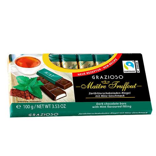 BARRAS DE CHOCOLATE RELLENO CON CREMA DE MENTA - MAITRE TRUFFOUT 100 gr.