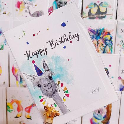 Greetings card - Happy Birthday Llama