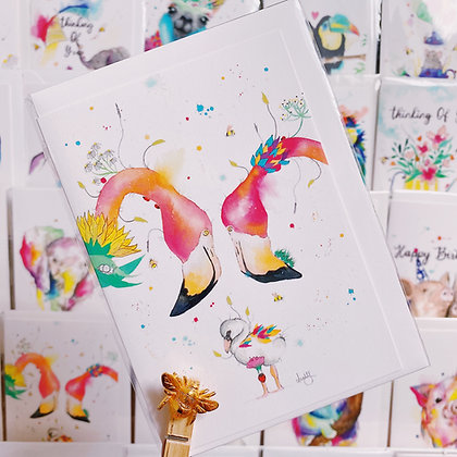 Greetings Cards - Flamingo Family
