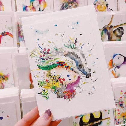 Greetings card - Beautiful Badger