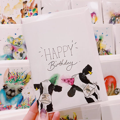 Greetings card - Birthday Cows