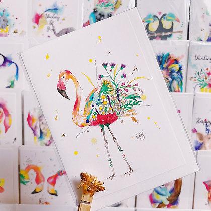 Greetings Cards - Flora Flamingo