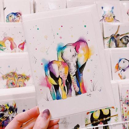 Greetings Cards - Loving Elephants