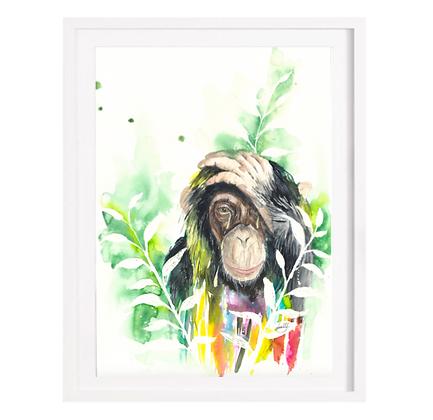 Loving Monkey - A3 (Unframed)