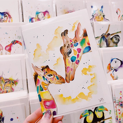 Greetings cards - Kissing Giraffe