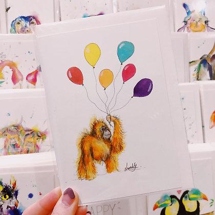Greetings card - Birthday Orangutan