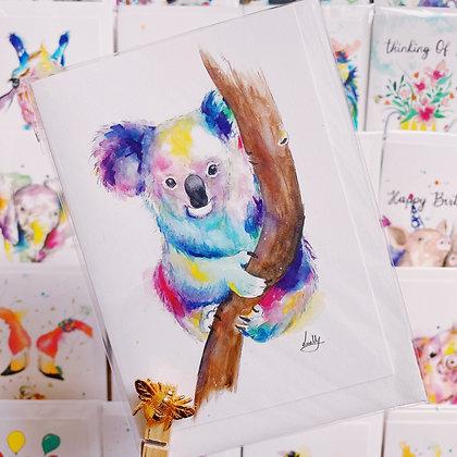 Greetings card - Colourful Koala