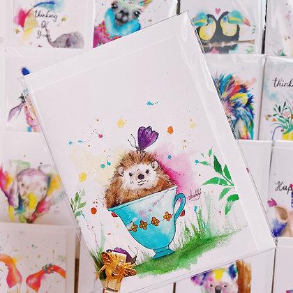 Greetings card - Teacup Hedgehog