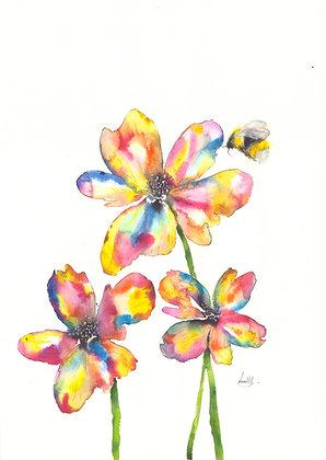 Rainbow Flowers - A3 Print