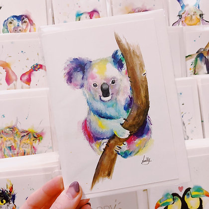 Greetings card - Colourful Koala
