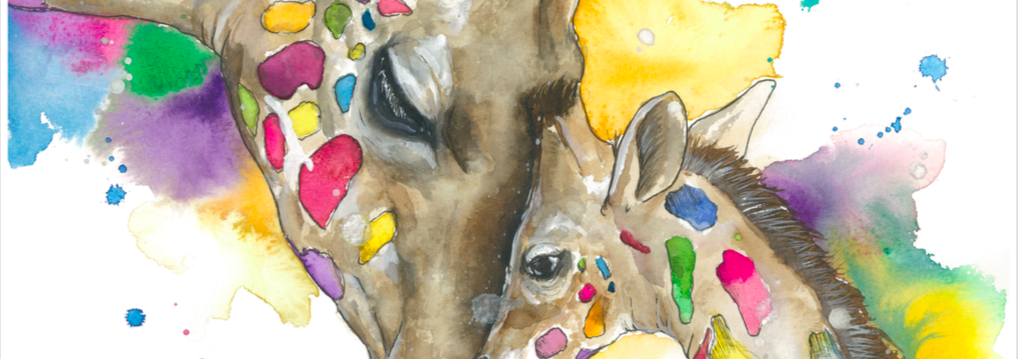 Loving giraffe - A3 Print