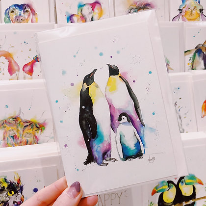 Greetings card - Penguin Family