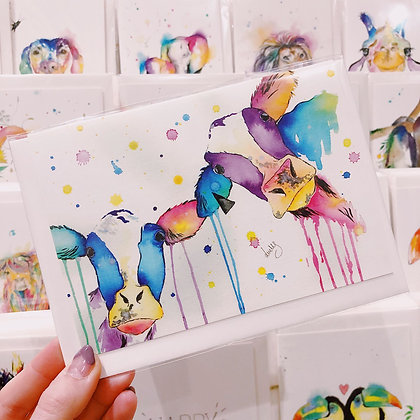 Greetings cards - Colourful Cows
