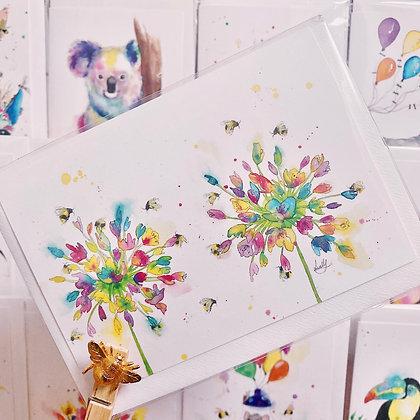 Greetings card - Blossoming Honey Bees 2
