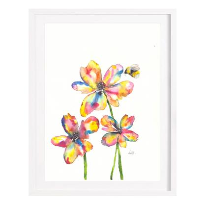 Rainbow Flowers - A3 (Unframed)