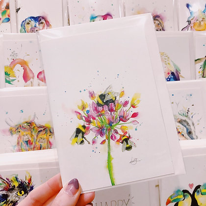 Greetings card - Blossoming Honey Bees 3