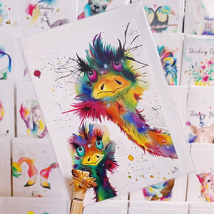 Greetings Cards - Crazy Ostriches Brothers