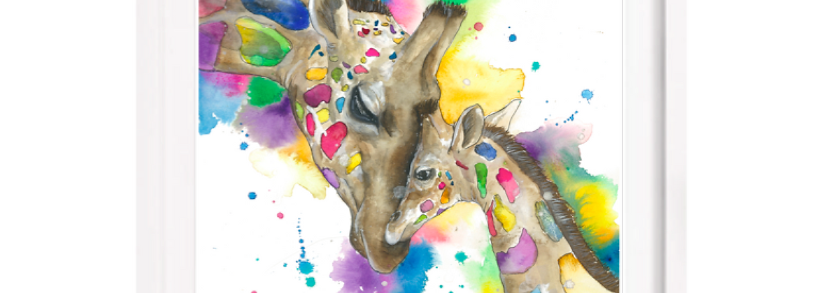 Loving giraffe - A3 (Unframed)