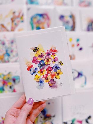Greetings card - Pansies
